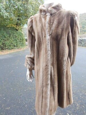 Vintage Astraka faux fur full length coat in honey brown with cuff sleeves lovel