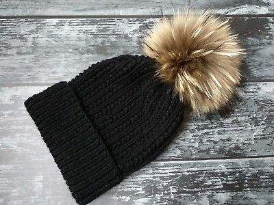 Hand Knit Kids Warm Merino Wool Beanie, Toddler Girls Fur Pompon Hat, Autumn Hat