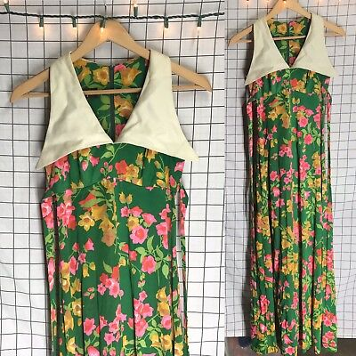 5fd5e280b26 VINTAGE 60S 70S KELLY Arden Floral Bright Huge Collar Maxi Dress ...