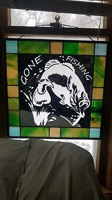 """Gone fishing bass Hand Crafted Stained Glass Mirror 16""""x16"""" Wall Window hanging"""