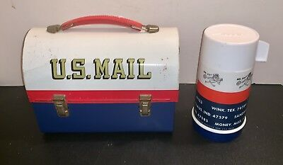 VINTAGE 1969 Aladdin US Mail Metal Dome Lunchbox & Thermos NICE