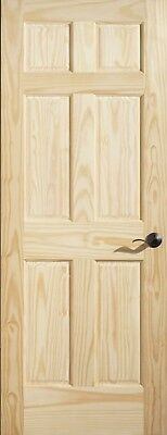 Cathedral Grain Clear Pine 6 Pnl Interior Door, Slab/PH. MANY SIZES.  FREE SHIP