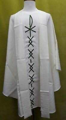 Antique French Houssard PX Chi-Rho Design Cream Vestment Chasuble Stole 80's