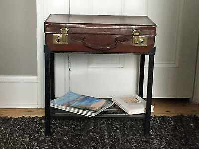 Antique English Leather Case on Iron Stand with Shelf, as Side Table, Ca 1880