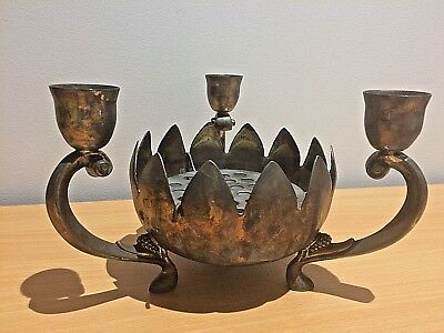 Vintage Lotus Shaped EP Brass Made in Hong Kong Candle Holder Candlestick 19 cm