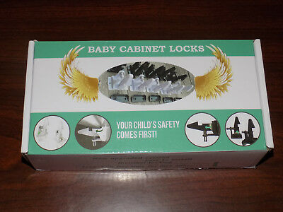 Baby Cabinet Locks 12 Pack White Two Different Settings Child Safety NEW FS!!!!!