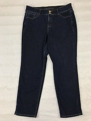 Lane Bryant Womens Jeans Size 16 Short Mid Rise Straight Leg Tighter Tummy Dark