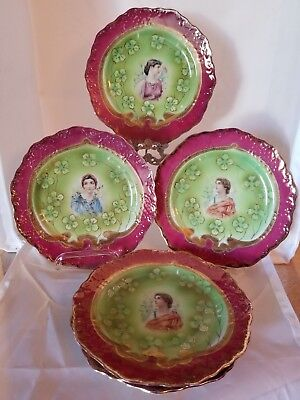 Vintage Royal Saxe Germany Erdmann Schlegelmilch Set of 5 Plates - Hand Painted
