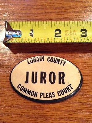 Lorain County Juror Common Pleas Court pin pinback vintage button ohio