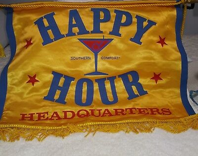 """Vintage """"Southern Comfort""""  Happy Hour Headquarters Flag Banner Gold"""