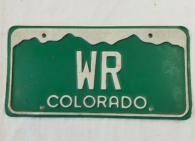 Colorado state license plate WR  vanity plate green mountains