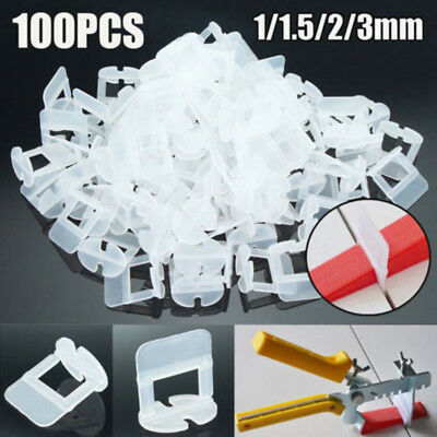 100pcs Wedge Clips Tile Flat Leveling System Wall Floor Spacers Strap Tool 1-3mm