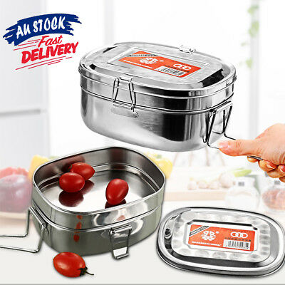 Double layer Bento Food Stainless Steel Container Picnic Lunch Box Case