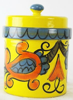 Vtg 1960s Yellow Ceramic Canister Italy 2784 MOD MCM Abstract Paisley