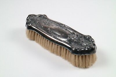 Silver Plated Clothes Brush Natural Bristles Vintage