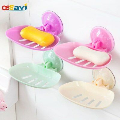 Wall Mounted Soap Dish Box Self-adhesive Suction Kitchen Bathroom Storage Tools
