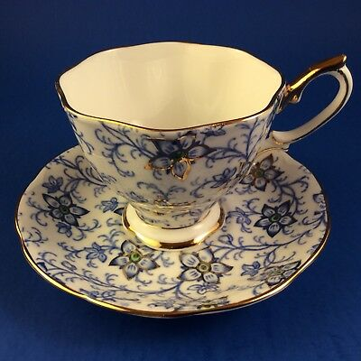 Rare Royal Albert Blue And Gold Chintz Bone China Tea Cup And Saucer