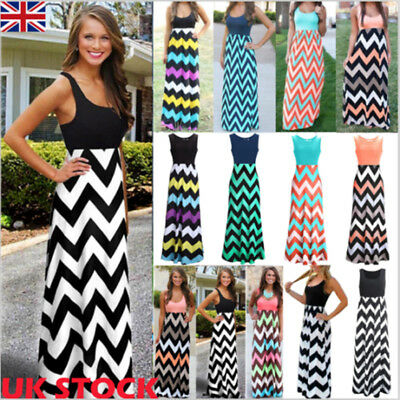 UK Womens Wave Boho Maxi Long Evening Party Dresses Beach Sundress Summer Dress