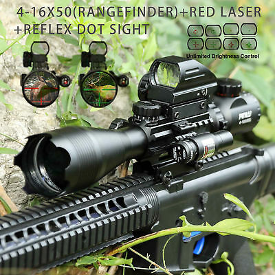 Combo 4-16x50 Rangefinder Rifle Scope Red laser&Holographic Reflex Dot Sight