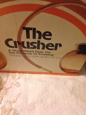 "Vintage: The Crusher """"Glass Head """" RARE! UnUsed tobacco Hookah Bong Pipe"