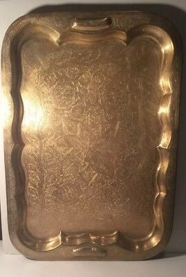 """BOHO Vintage Large Exotic Middle Eastern SOLID Brass etched Tray 19.5"""" GORGEOUS"""