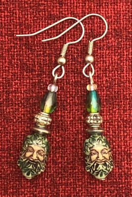 Green Man Celtic Earrings Ceramic Crystal Cernunnos Viridios Pagan Medieval