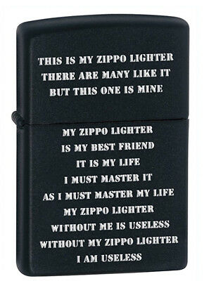 Zippo Creed Black Matte Lighter Model 24710 NEW in BOX