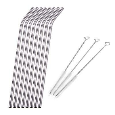 8Pcs Stainless Steel Metal Drinking Straw Straws + 3 Cleaner Brush Kit Tool
