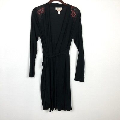 Jessica Simpson Nursing Robe Size Small Medium S/M Black Floral Lace Maternity