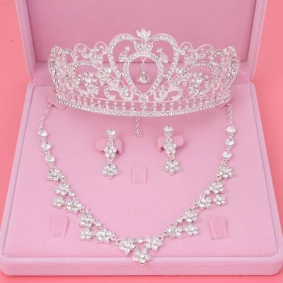 Gorgeous Jewelry Set Necklace Earrings Tiara Lovely Wedding Silver Crystal Queen
