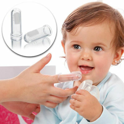 New 2Pcs Baby Infant Soft Silicone Finger Toothbrush Teeth Rubber Massager Brush