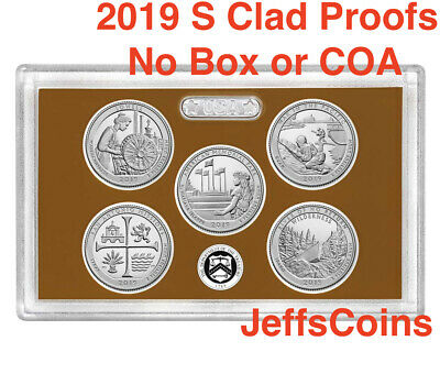 2019 S Proof US Mint Set ATB 5 Clad Quarters NO Box or COA Lowell - Frank Church