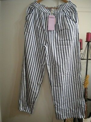 Ladies New With Tag Peter Alexander White / Blue Stripe Pants Size L