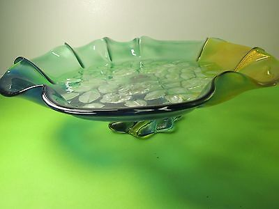 Vintage  Walther & Sohne Amber-Green-Blue Color - Flowers Glass Fruit Bowl Stand