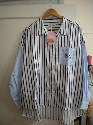 Ladies New With Tag Peter Alexander White / Blue Stripe Top Size L