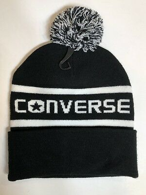 9de3d12cfa2 Authentic Converse Jacquard Black Ski Beanie Hat Pom-Pom Winter Knit Men    Women