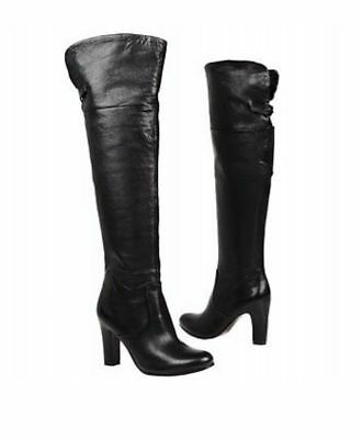 dde438a1afd3e Sam Edelman Womens Boots Sable 8 Black Fold Knee High Zip Up Leather Over  Knee