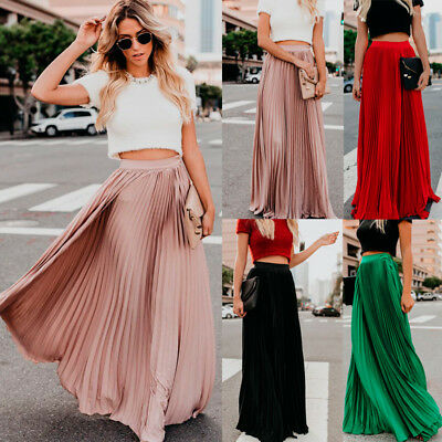 Womens Vintage High Waist Swing A Line Pleated Long Skirt Lady Maxi Skater Dress