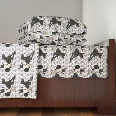 Dog Show Blue Mantle Danish Dogs Great Dane Cotton Sateen Sheet Set by Roostery
