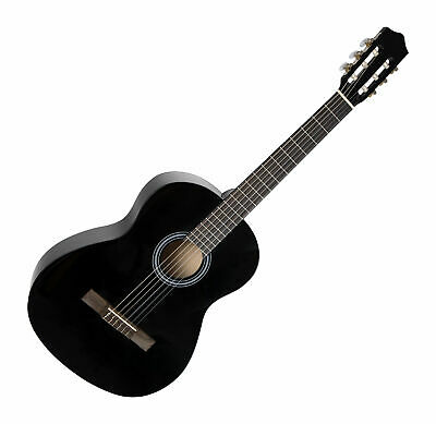 7/8 Size Acoustic Classical Guitar Beginner Dreadnought Basswood Black