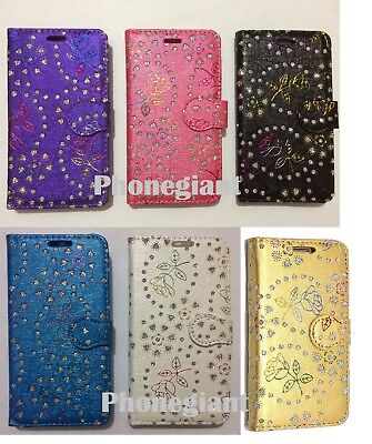 Bling Diamond Pattern Flip Leather Wallet Case For Various Samsung Galaxy Phones
