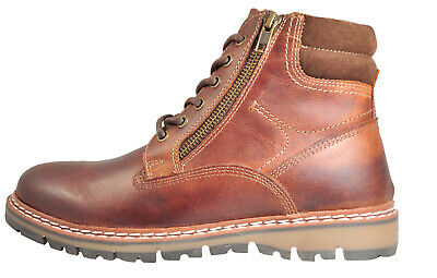 Red Tape Sawston Men's Leather Casual Designer Chukka Ankle Zip Boots Brown