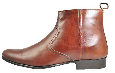 Red Tape Belmont Men's Real Leather Casual Smart Chelsea Ankle Zip Boots Brown