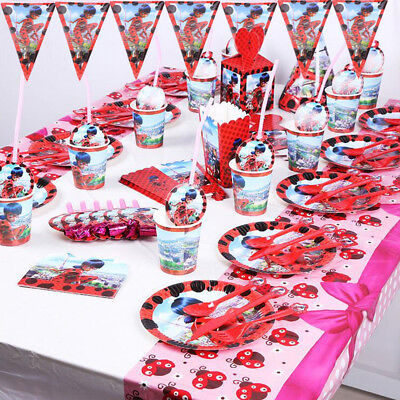 Miraculous Ladybug Birthday Party Favor Kids Tableware Decor Plates Tablecloth