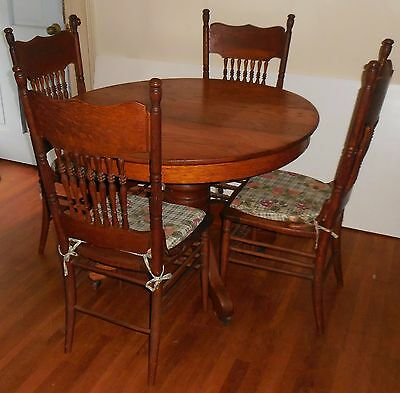 Antique 42 Round Oak Table And 4 Chairs 24900 Picclick