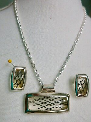 Vintage Art Deco NECKLACE & EARRINGS set Jewelry  STYLE  Retro New Chain