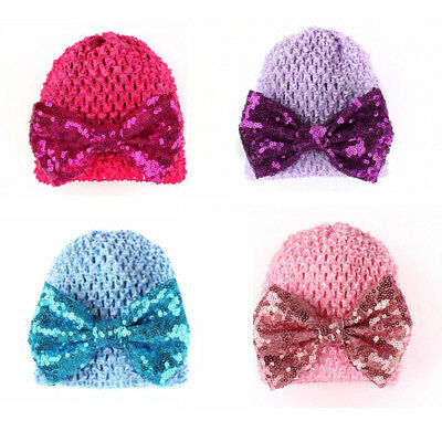Charm Fashion Baby Infant Hat Sequined Knot Bow Beanie Cap Warmer Winter CB