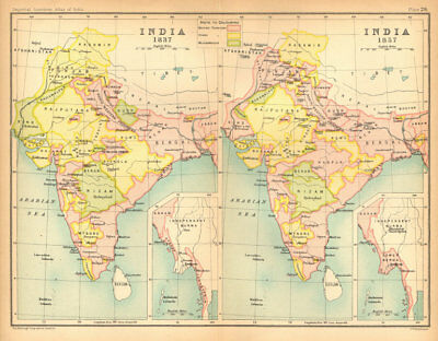 INDIA HISTORICAL. 1837 & 1857. British, Hindu & Muslim states 1909 old map