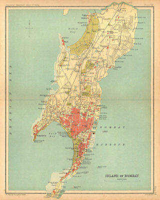Bombay Island town city plan. Mumbai. British India 1909 old antique map chart