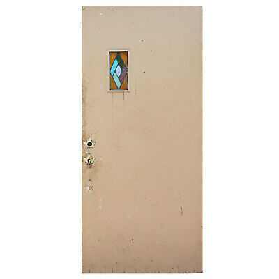 """Reclaimed 36"""" Door with Stained Glass, NED898"""